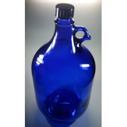 Glass bottle made of blue...